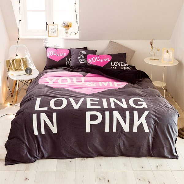 Pink Victoria Secret Bedding Set Queen for Girls