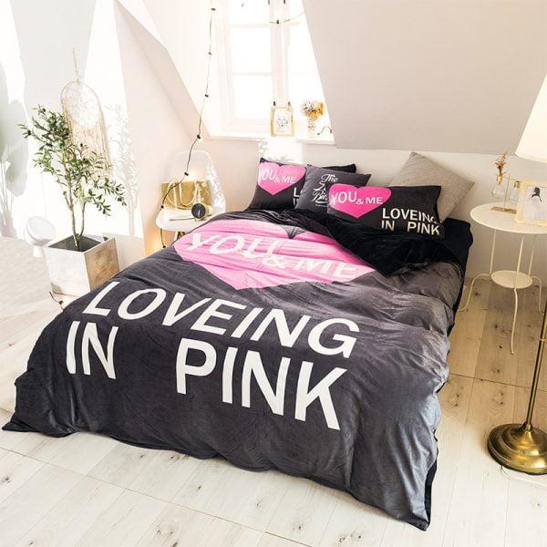Pink Victorias Secret Bedding Set Queen for Girls 6