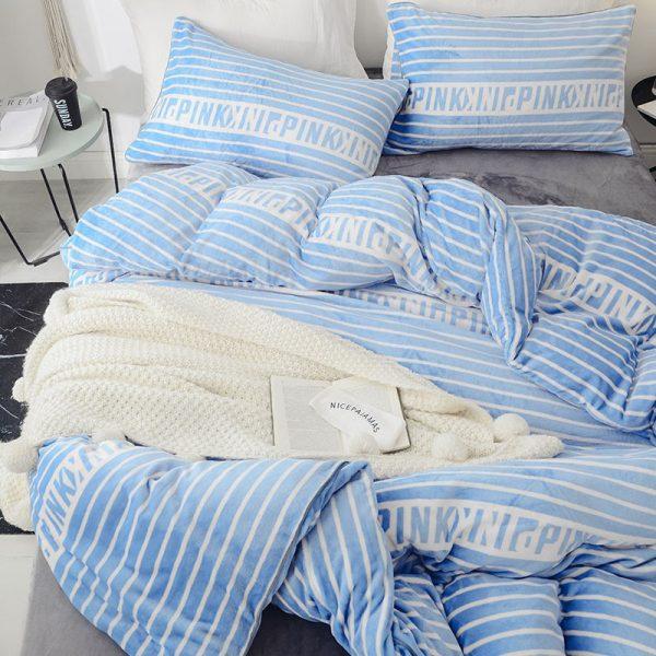 Victoria Secret Pink Queen Blue Ship Cove Velvet Bedding Set 9