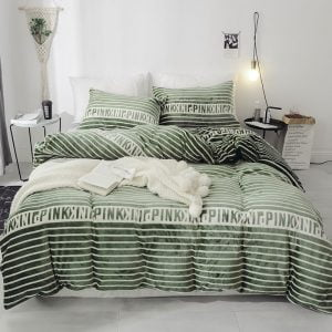 Victoria Secret Pink Queen Green Finch Velvet Bedding Set (1)