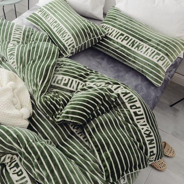 Victoria Secret Pink Queen Green Finch Velvet Bedding Set 10