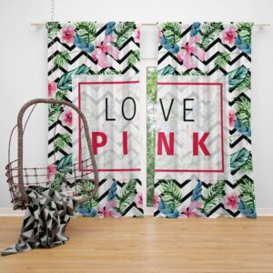 VS Love Pink Modern Pattern with Tropical Watercolor Flowers Window Curtain