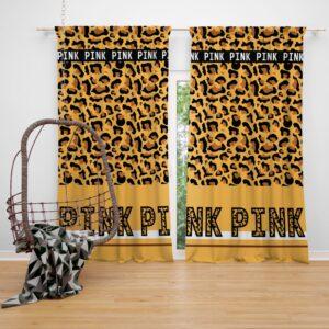 Victoria's Secret Pink Leoperd Pattern Print Window Curtain