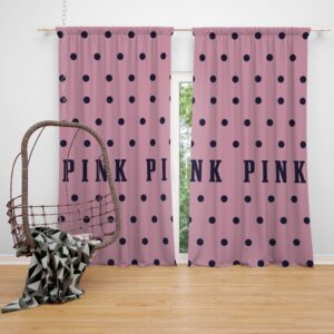 Victoria's Secret Pink Color Polka Dot Pattern Window Curtain