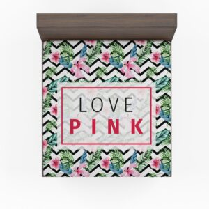 VS Love Pink Modern Pattern with Tropical Watercolor Flowers Bedding Fitted Sheet
