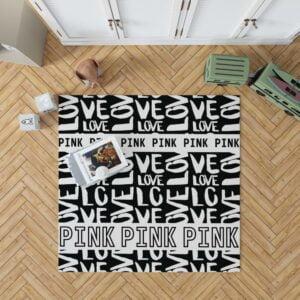 Victoria's Secret Pink Valentine Day Pattern Floor Rug Mat