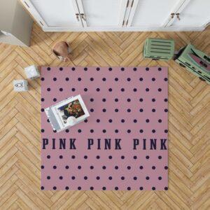 Victoria's Secret Pink Color Polka Dot Pattern Floor Rug Mat