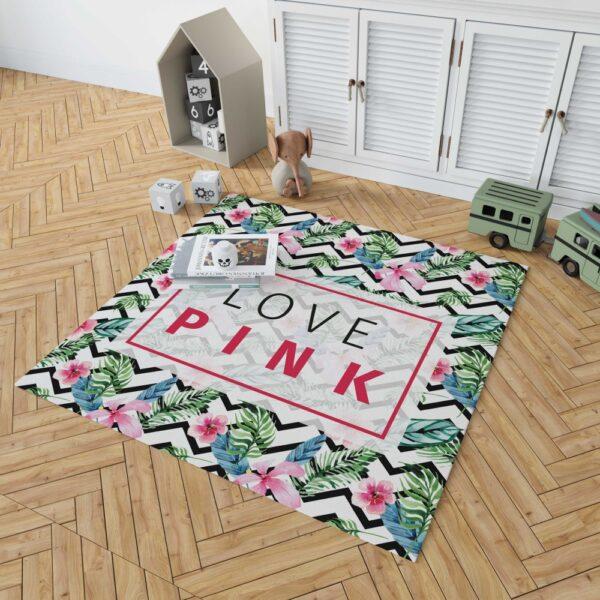 VS Love Pink Modern Pattern with Tropical Watercolor Flowers Floor Rug Mat