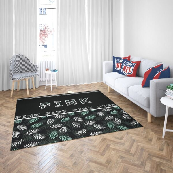 VS Pink Pattern with Green and White Palm Leaves Floor Rug Mat