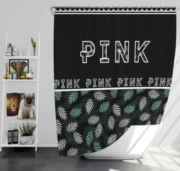 VS Pink Pattern with Green and White Palm Leaves Shower Curtain