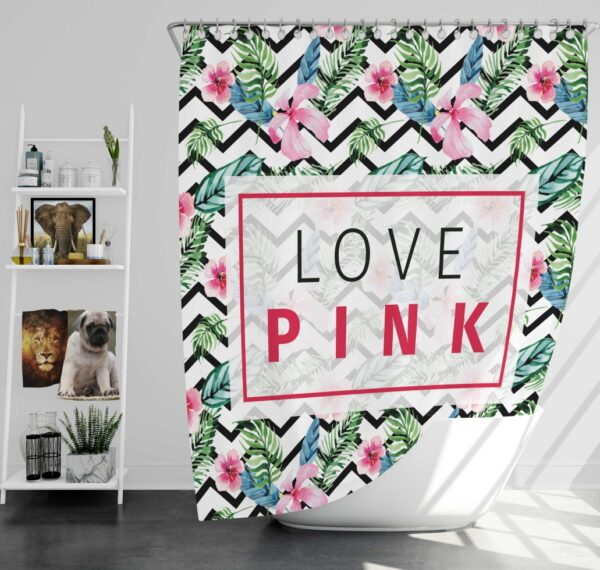 VS Love Pink Modern Pattern with Tropical Watercolor Flowers Shower Curtain