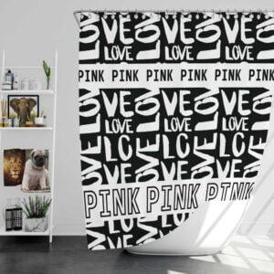 Victoria's Secret Pink Valentine Day Pattern Shower Curtain
