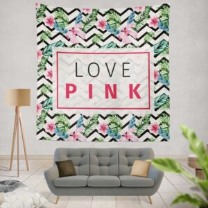 VS Love Pink Modern Pattern with Tropical Watercolor Flowers Wall Hanging Tapestry