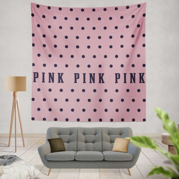 Victoria's Secret Pink Color Polka Dot Pattern Wall Hanging Tapestry